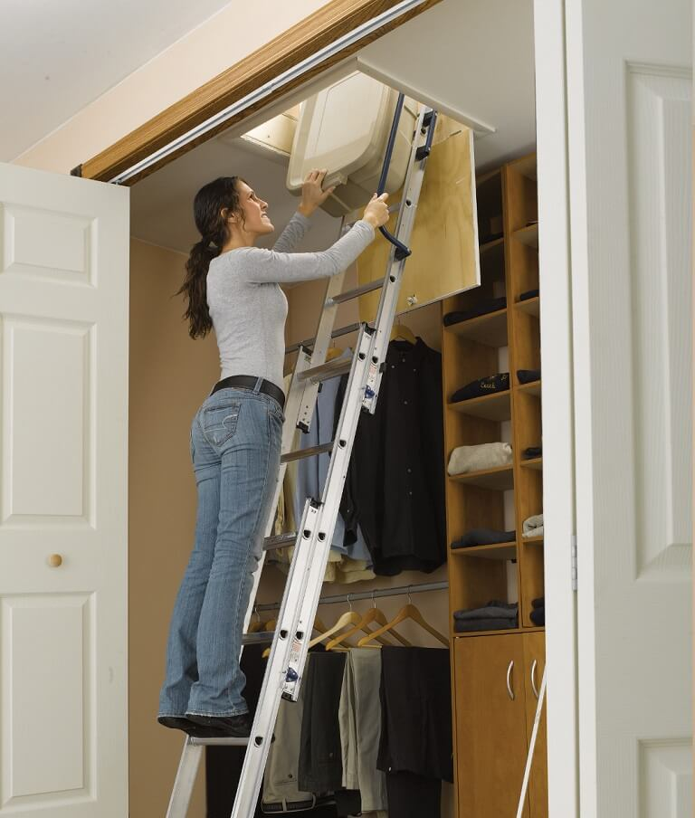 Werner AA1510 Compact Aluminum Attic Ladder in Closet