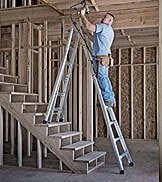 Werner aluminum multi-position ladder on steps