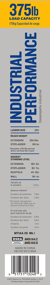 Werner MT-IAA-26 Multi-Purpose Telescoping Aluminum Ladder Label