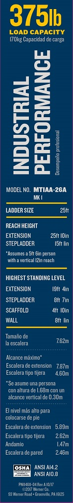 Werner MT-IAA-26A Multi-Purpose Telescoping Aluminum Ladder Label