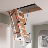 Werner Hideaway Timber Loft Ladder requires no headroom or storage in the loft