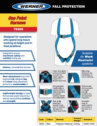 Werner SellSheet One Point Harness 79205