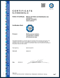 WernerCo UK TUV SUD Certificate Combination Ladders Professional Use